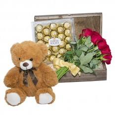 Caress Chest with Imported Roses, Bear and Ferrero Rocher