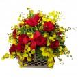 Cesta Luxo III - Rosas, Orquídeas Chuva de Ouro, 2 taças e Chandon