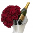 Bouquet with Colombian Roses, Chandon, Bucket and Glasses