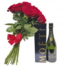 Rustic Bouquet with Imported Roses and Moet Chandon Champagne