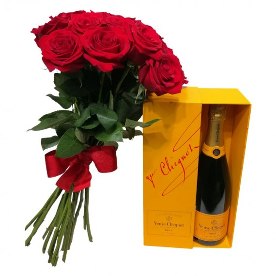 Rustic Bouquet with imported Roses and Veuve Clicquot Champagne
