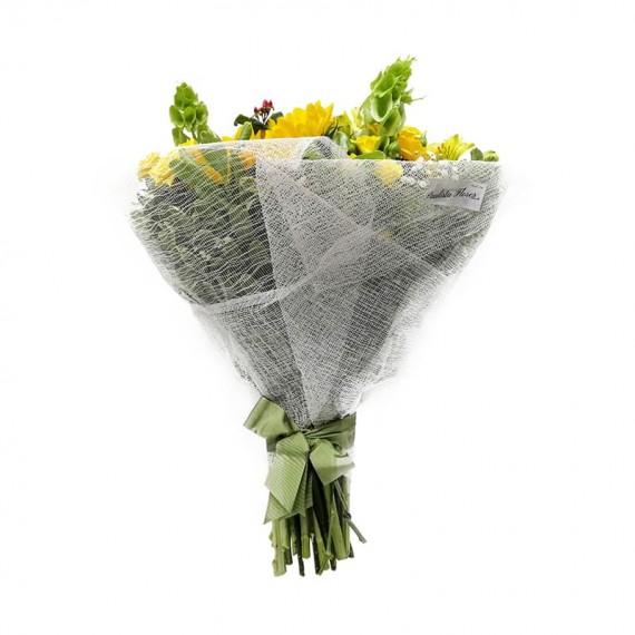 Buquê de Girassóis, Astromélias e Mini Rosas Amarelas