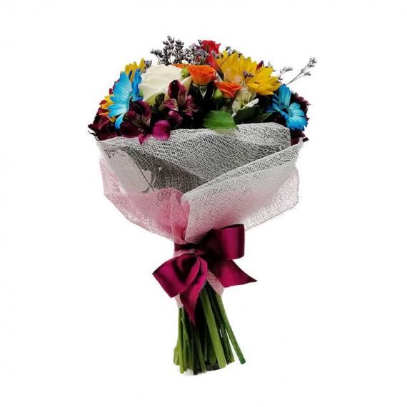 Buquê Médio de Gérberas, Astromélias, Rosas e Mini Rosas
