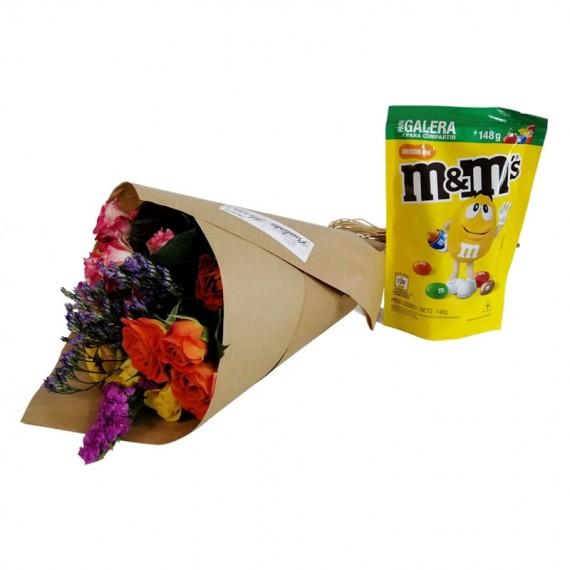 Mini Roses Bouquet M&M Peanut Chocolate Party