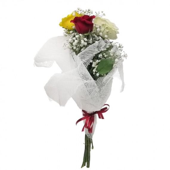 Buquê com 03 Rosas Nacionais Color