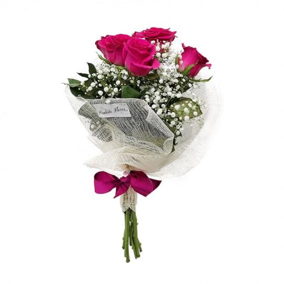 Buquê com 06 Rosas Nacionais - Cores