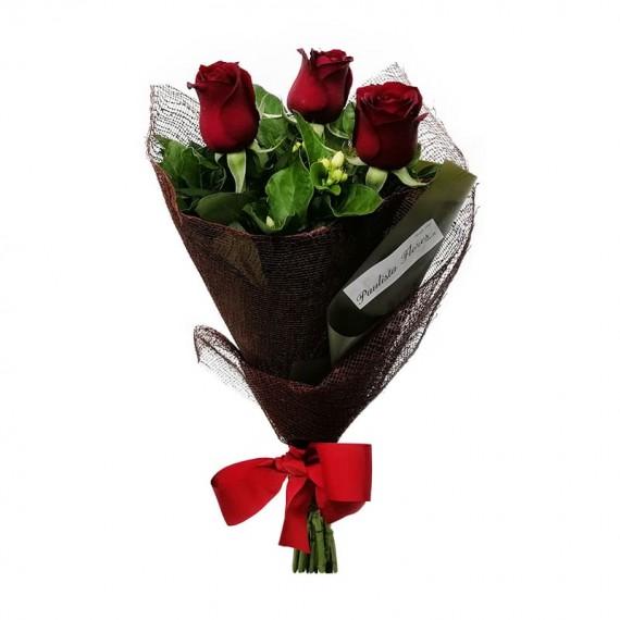Buquê com 03 Rosas Nacionais