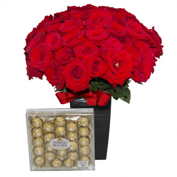 Bouquet with 50 Colombian Roses and Chocolate Ferrero Rocher with 24 units