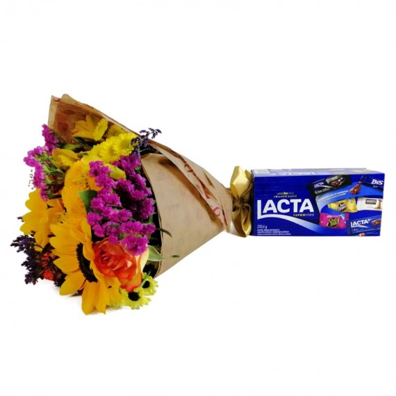 Hug Bouquet with chocolate Lacta