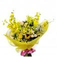 Buquê de Mini Orquídeas Chuva de Ouro, Girassóis e Mini Rosas