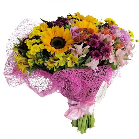 Bouquet of Field Flowers and Sunflowers