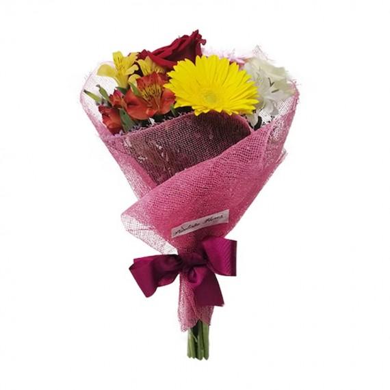 Buquê de Gérberas, Astromélias e Rosas