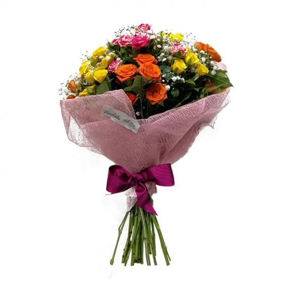 Buquê de Mini Rosas Coloridas