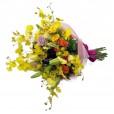 Buquê Mix com Rosas Nacionais, Mini Rosas, Lírios e Chuva de Ouro