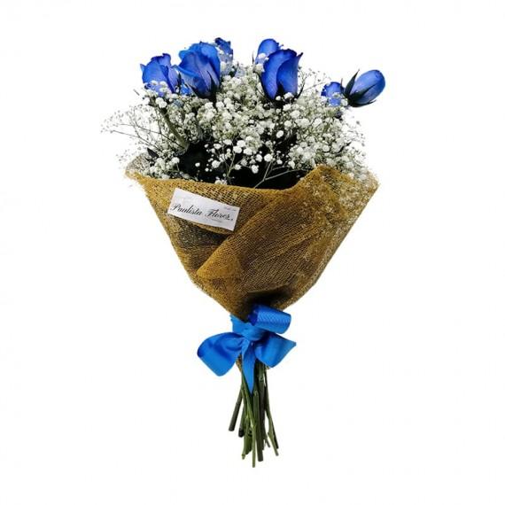 Buquê com 12 Rosas Azuis