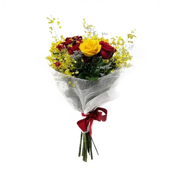Buquê de Rosas Colombianas, Rosas Nacionais, Mini Rosas e Mini Orquídeas