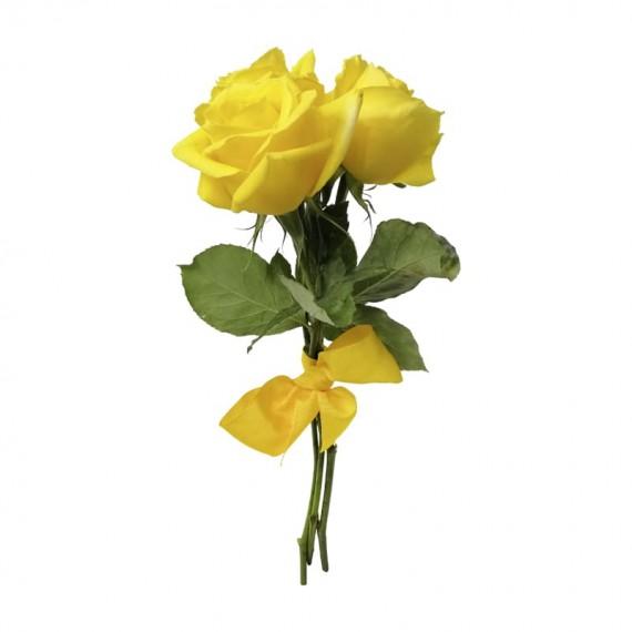 Buquê Rústico com 3 Rosas Amarelas