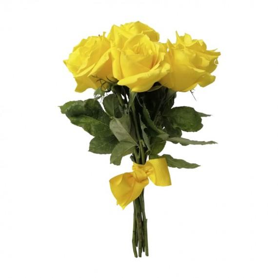 Buquê Rústico com 7 Rosas Amarelas