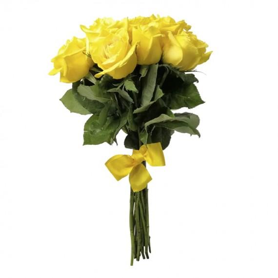 Buquê Rústico com 15 Rosas Amarelas