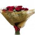 Buquê Grande de 40 Rosas Colombianas com gipsofilas