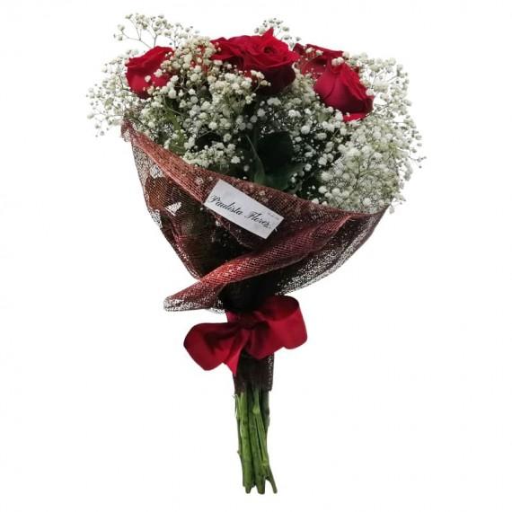 Buquê com 09 Rosas Colombianas Charme
