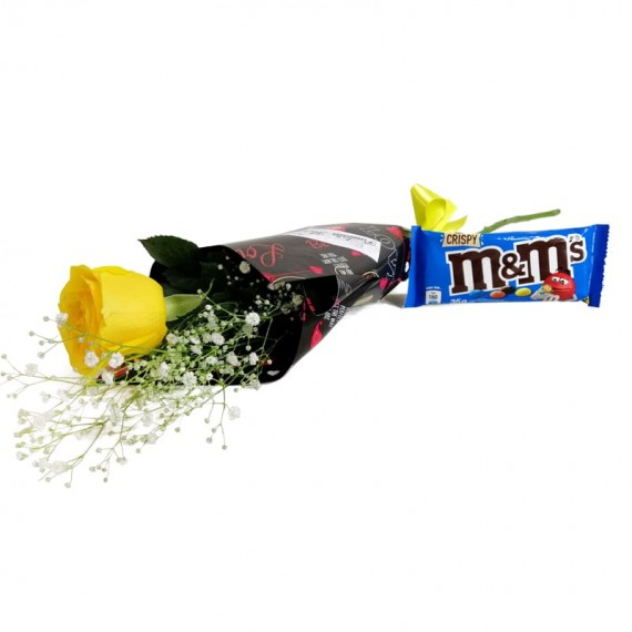National Rose Bouquet Joy with chocolate M&M