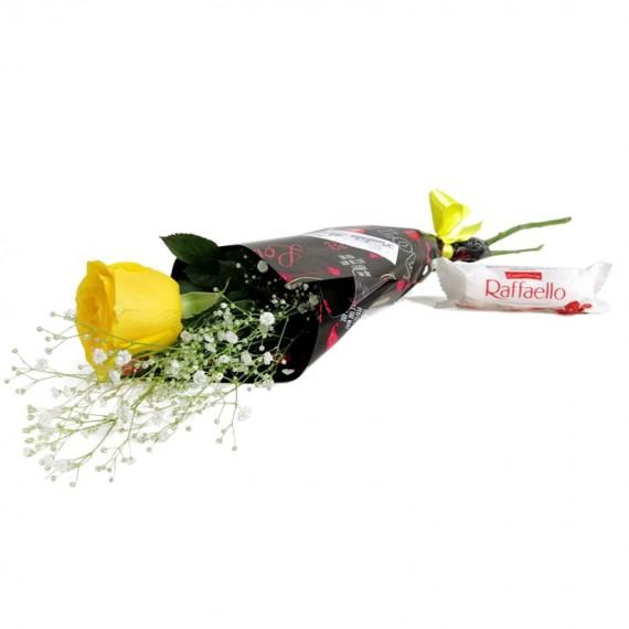 National Rose Bouquet Joy with chocolate Raffaello
