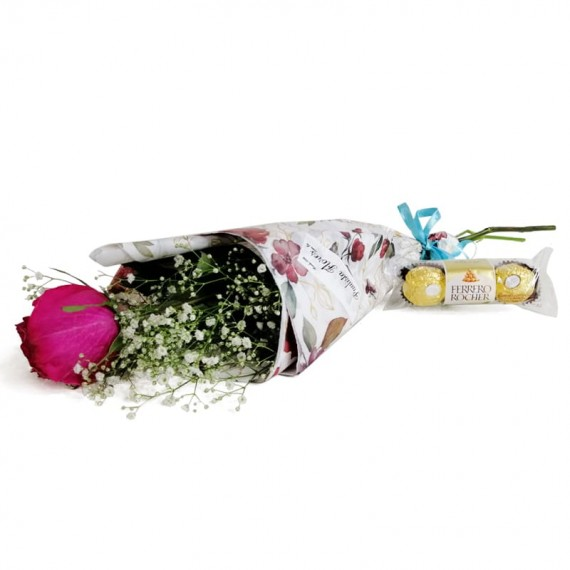 National Rose Bouquet Tenderness with chocolate Ferrero Rocher
