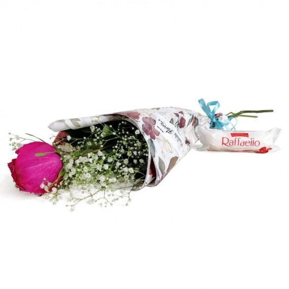 National Rose Bouquet Tenderness with chocolate Raffaello
