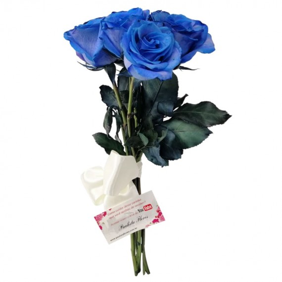 Rustic Bouquet with 07 Blue Roses