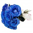 Rustic Bouquet with 15 Blue Roses
