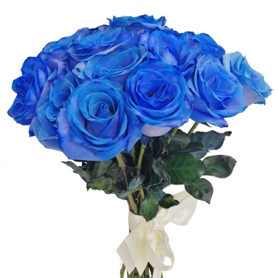 Rustic Bouquet with 20 Blue Roses