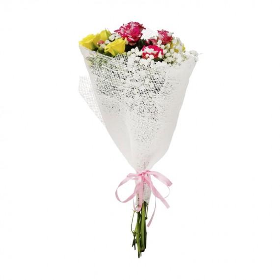 Mini Buquê de Mini Rosas e gipsofilas