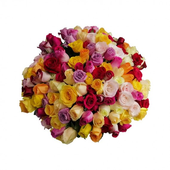 Mega bouquet with 100 Colorful Roses