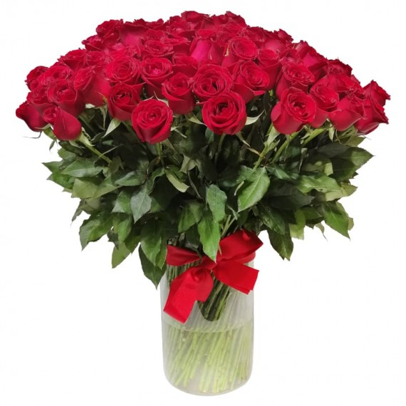 Mega bouquet with 200 national roses with glass vase