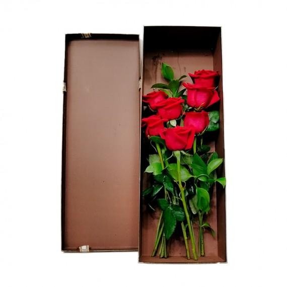 Caixa com 7 Verdadeiras Rosas Colombianas