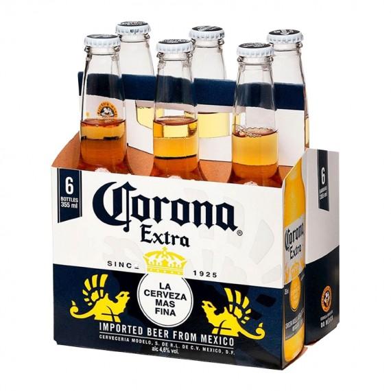 Cerveja Corona Extra Long Neck - Pack com 6 Unidades