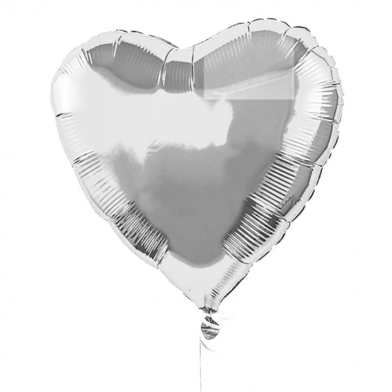 Heart balloon with helium gas (silver - 1 unit)