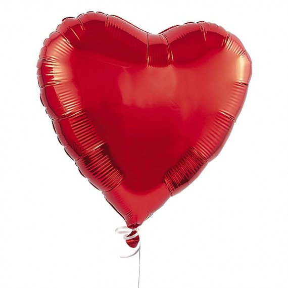 Heart balloon with helium gas (red - 1 unit)
