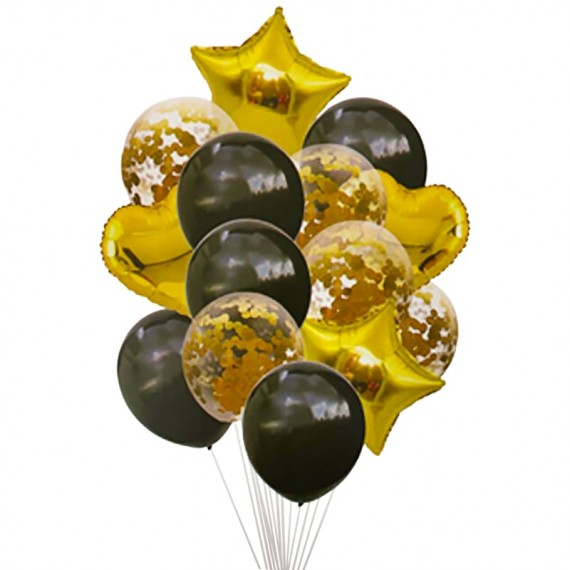 Bouquet of Golden and Black Balloons