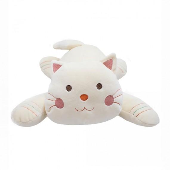 Gato Bege Deitado 37cm - Pelúcia