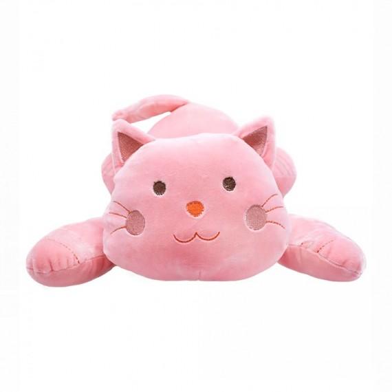 Gato Rosa Deitado 37cm - Pelúcia