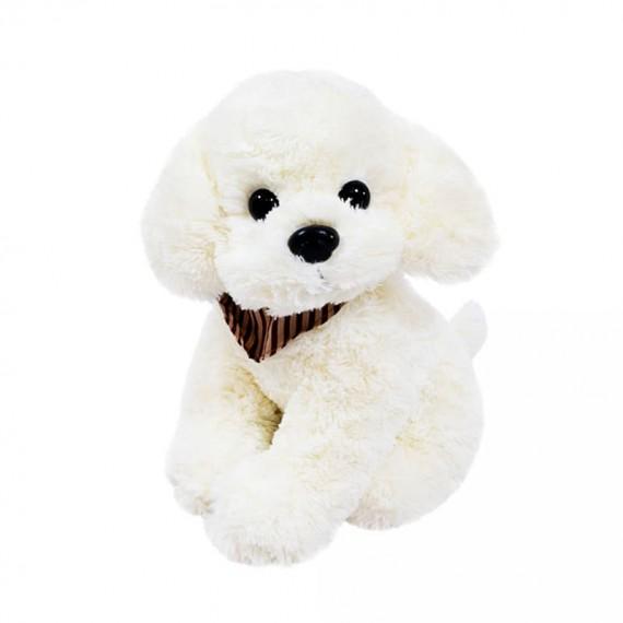 White Plush Dog with Neck Scarf - 34 cm