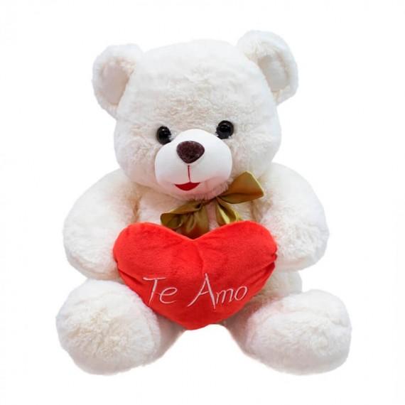White Teddy Bear with Heart I Love You - 40 cm