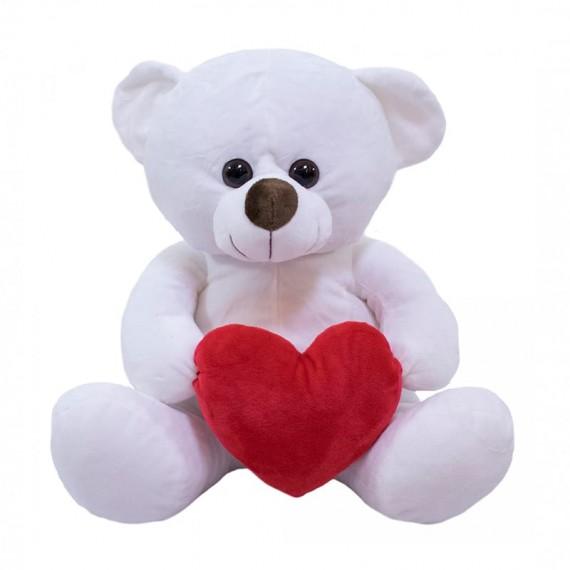 White Teddy Bear with Heart - 33 cm