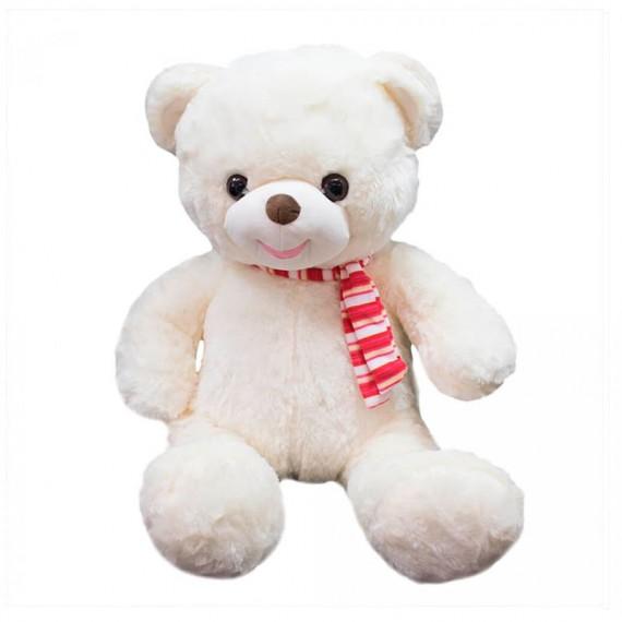 White Teddy Bear with Scarf - 48 cm