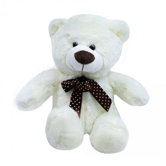 White Teddy Bear with Bow - 29 cm