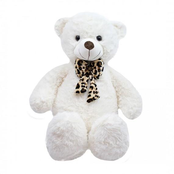 White Teddy Bear With Bow - 35 cm