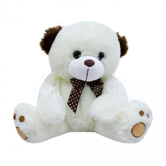 White Teddy Bear and Brown Ears - 27 cm