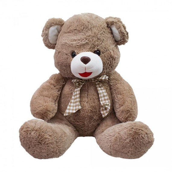 Brown Teddy Bear with Checkered Bow - 48cm